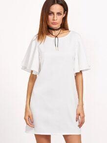 White Tied V Back Ruffle Sleeve Dress
