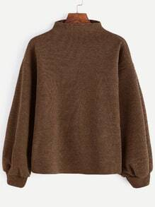 Brown Ribbed Lantern Sleeve Sweater