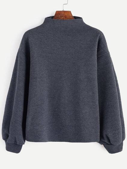 Dark Grey Ribbed Lantern Sleeve Sweater