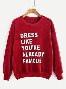 Sweat-shirt velours à l'épaule laissé imprimé slogan -bordeaux rouge