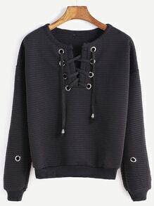 gerippte Sweatshirt  mit Holen Design Schnüren-schwarz