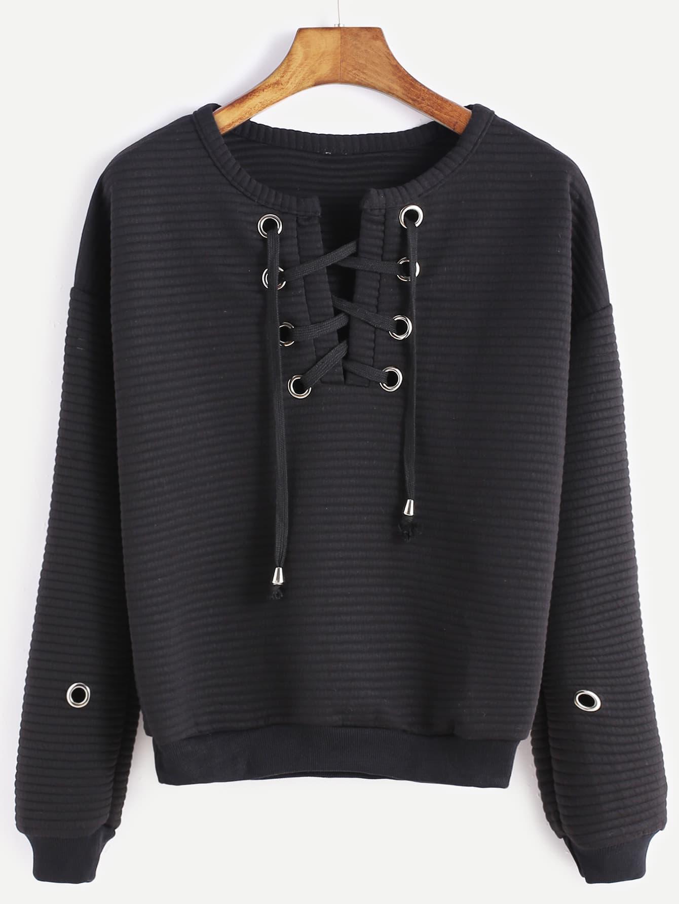 Black Lace Up Metal Eyelet Trim Ribbed Sweatshirt sweatshirt161122301