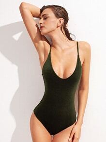Dark Green Cross Back One-Piece Velvet Swimwear