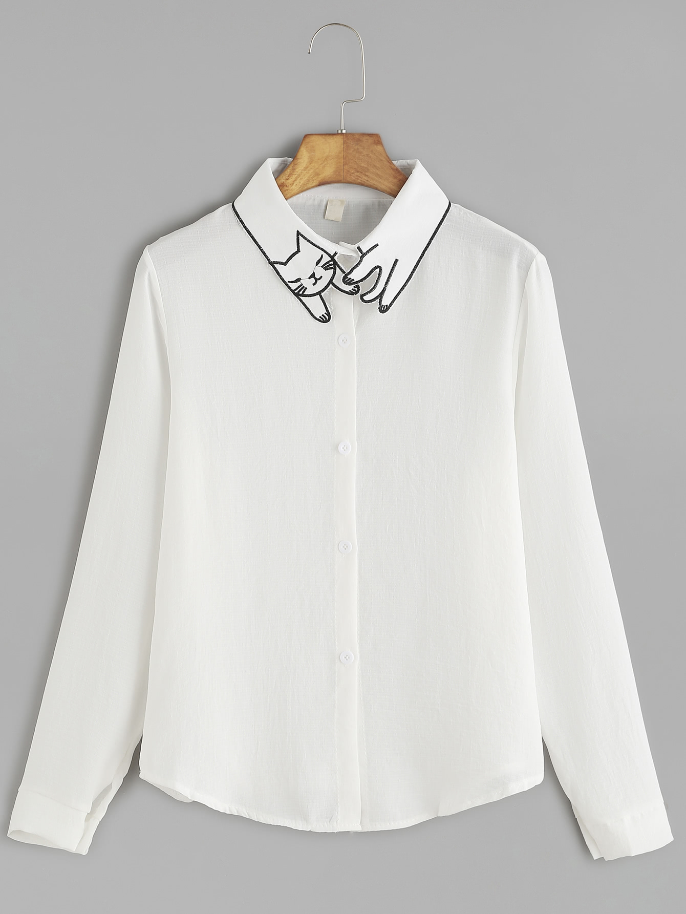 White cat embroidery collar button shirtfor women romwe