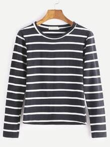 Camiseta de rayas de manga larga - negro