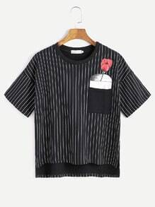 Black Vertical Striped Rose Print High Low Pocket T-shirt