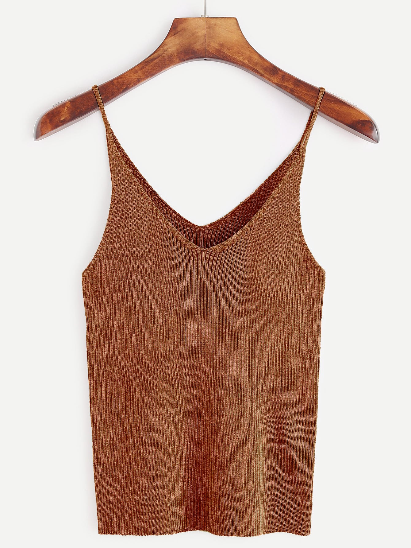 Brown Ribbed Knit Tight Cami Top