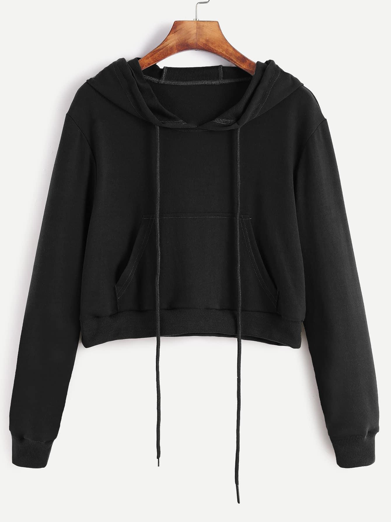 Black Drawstring Hooded Crop Sweatshirt With PocketFor ...