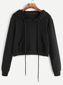 Sudadera corta con capucha y bolsillo - negro