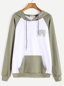 Contrast Raglan Sleeve Elephant Print Hooded Pocket Sweatshirt