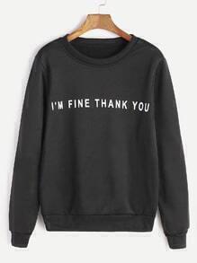 Black Slogan Print Casual Sweatshirt