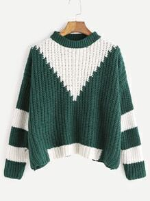 Green Contrast Dropped Shoulder Seam Sweater