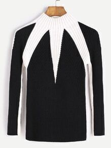 Black Contrast Mock Neck Ribbed Knit Sweater