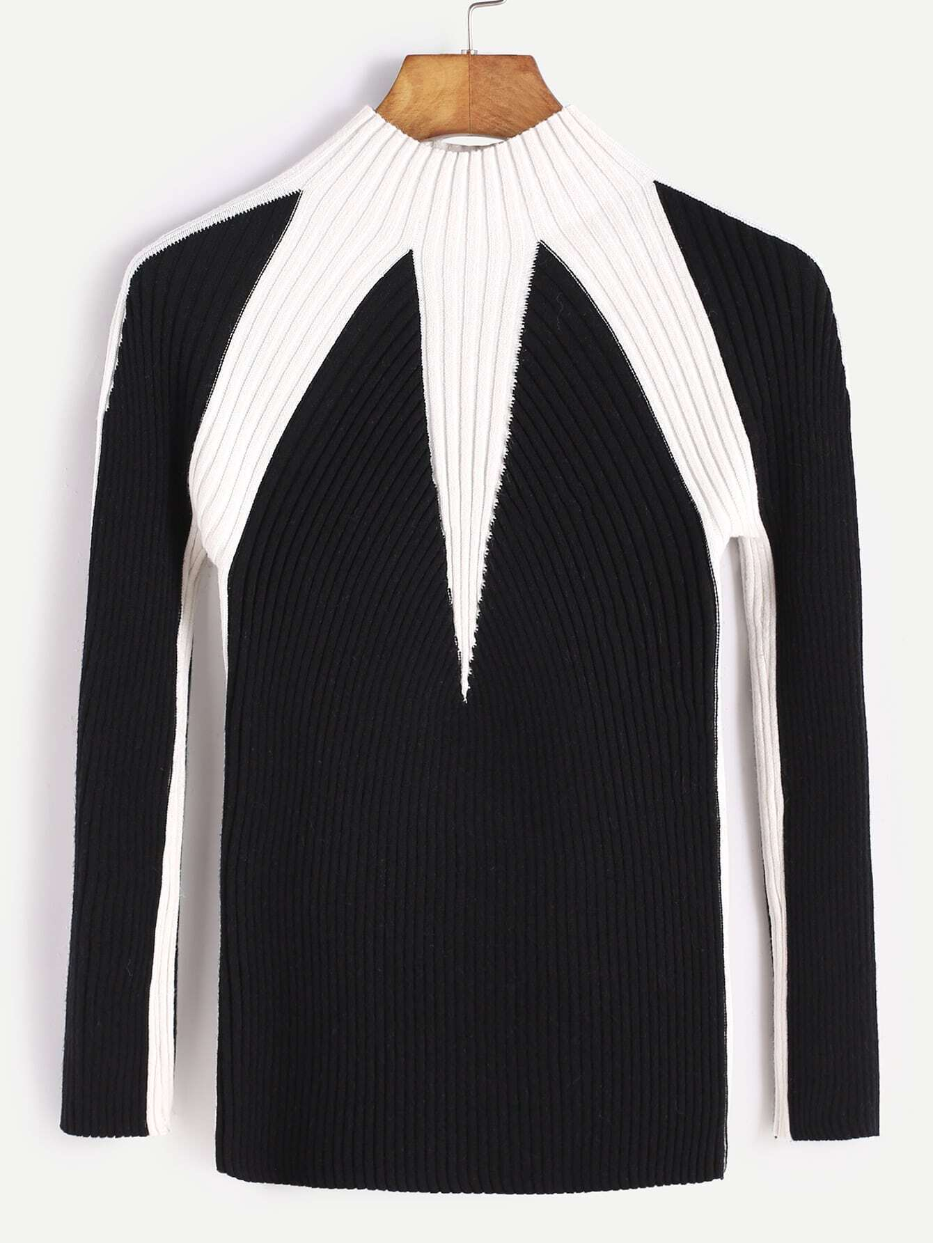 Black Contrast Mock Neck Ribbed Knit Sweater