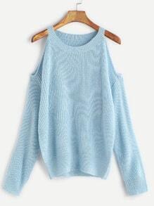 Light Blue Cold Shoulder Loose Sweater
