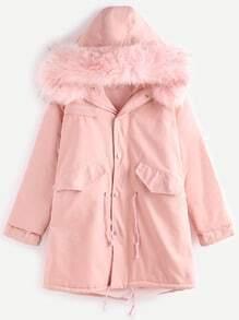 Abrigo ribete con piel sintética con capucha - rosa