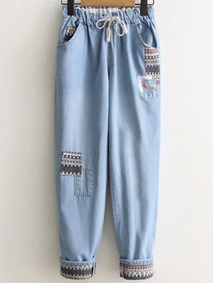 Light Blue Tribal Pattern Drawstring Denim Pants