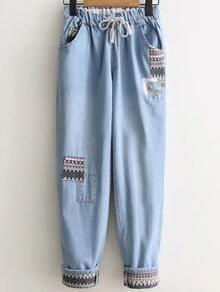 Palantons en jean motif tribal avec cordon -bleu clair