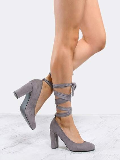 Almond Toe Lace Up Pumps GREY