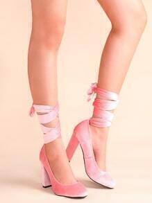 Schuhe mit hohen Absätzen Schnürungen Mandelzehe-rosa