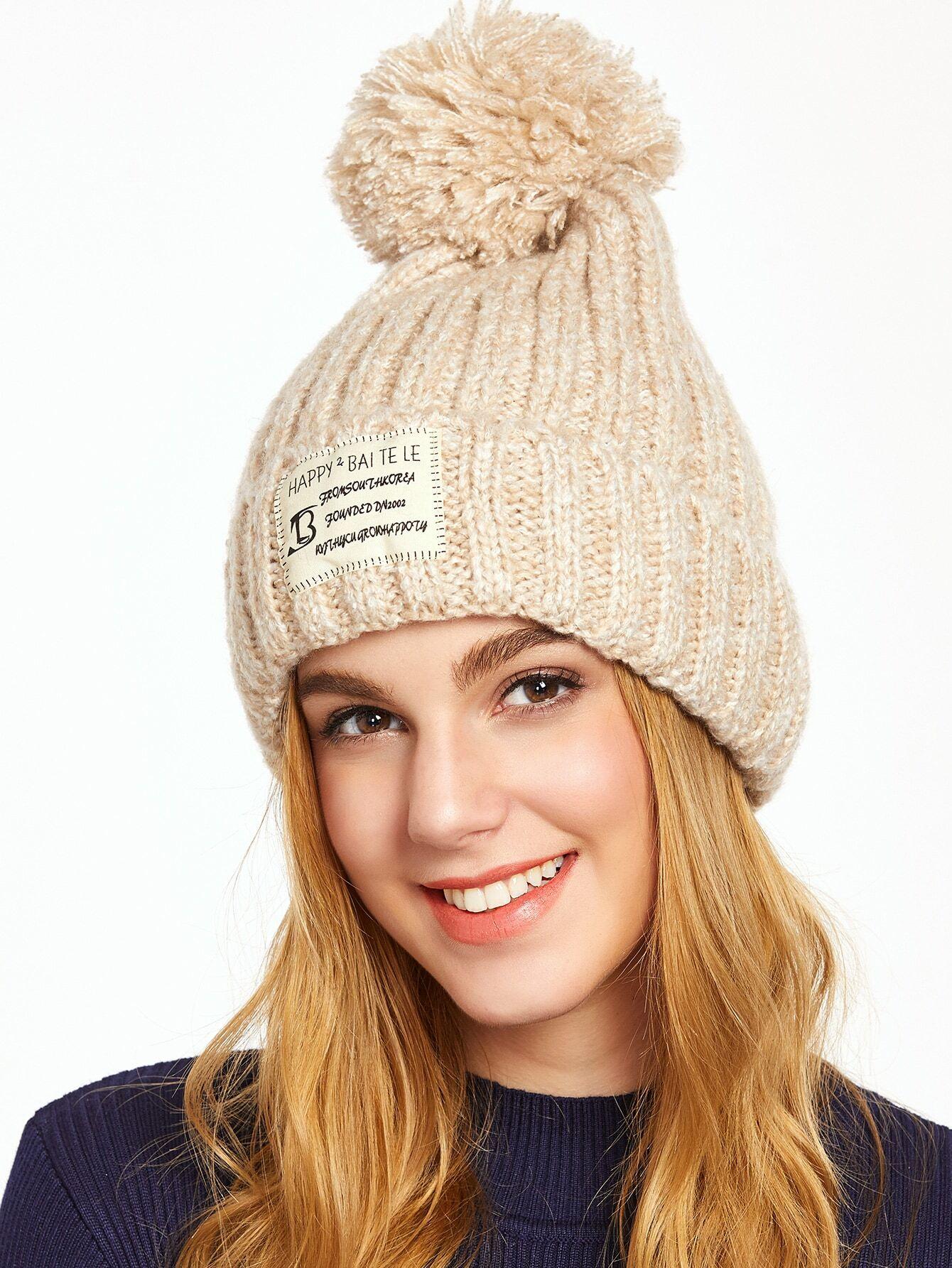Khaki Pom Pom Ribbed Knit Hat hat161122002