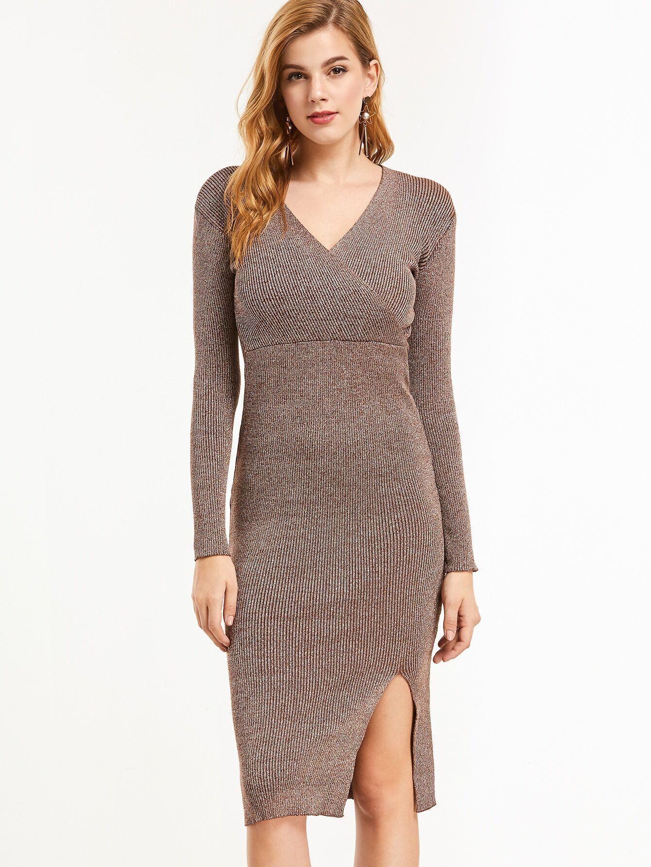 V Neck Slit Side Ribbed Knit Pencil Dress