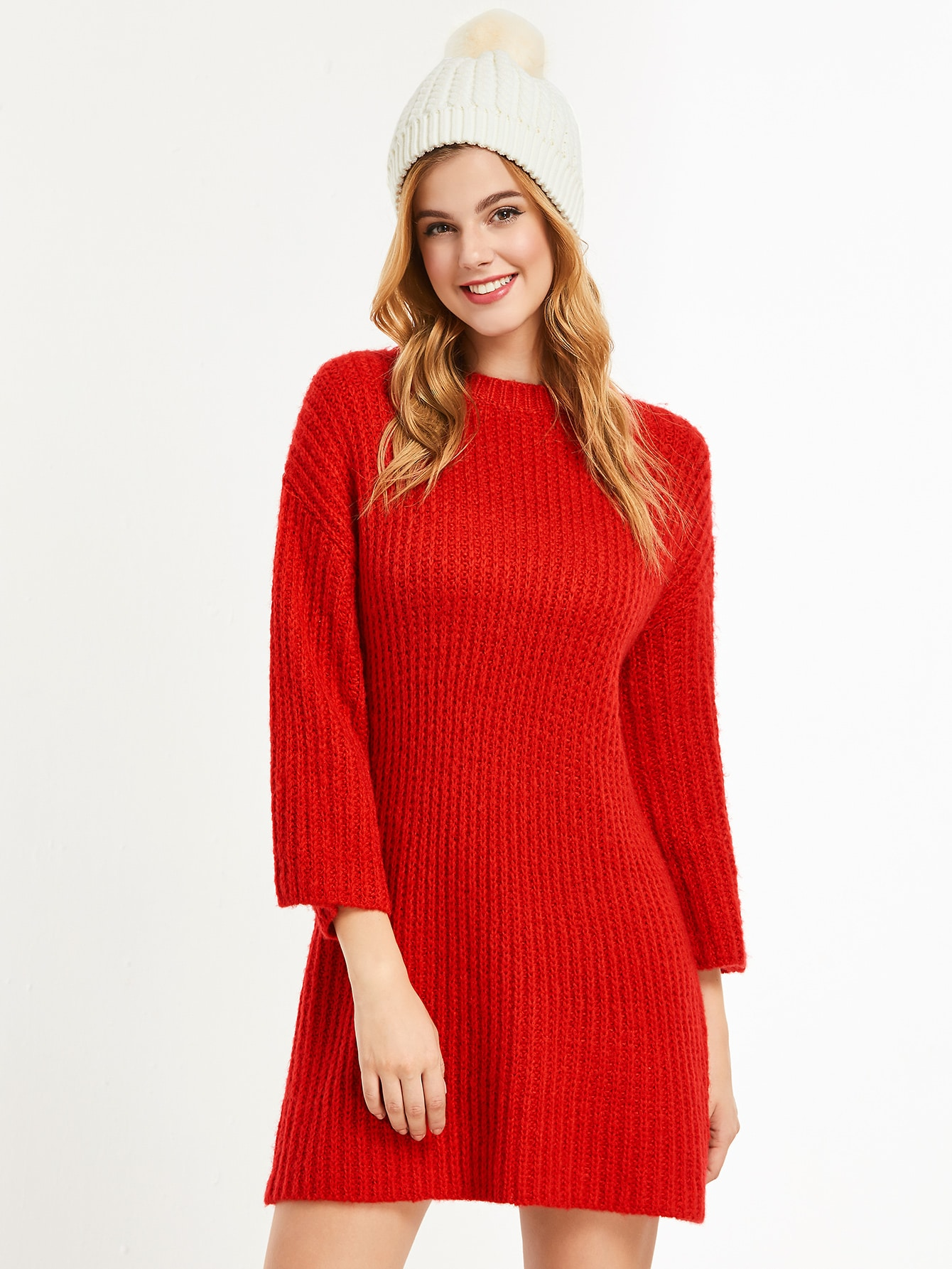Red Dropped Shoulder Seam Shift Sweater Dress