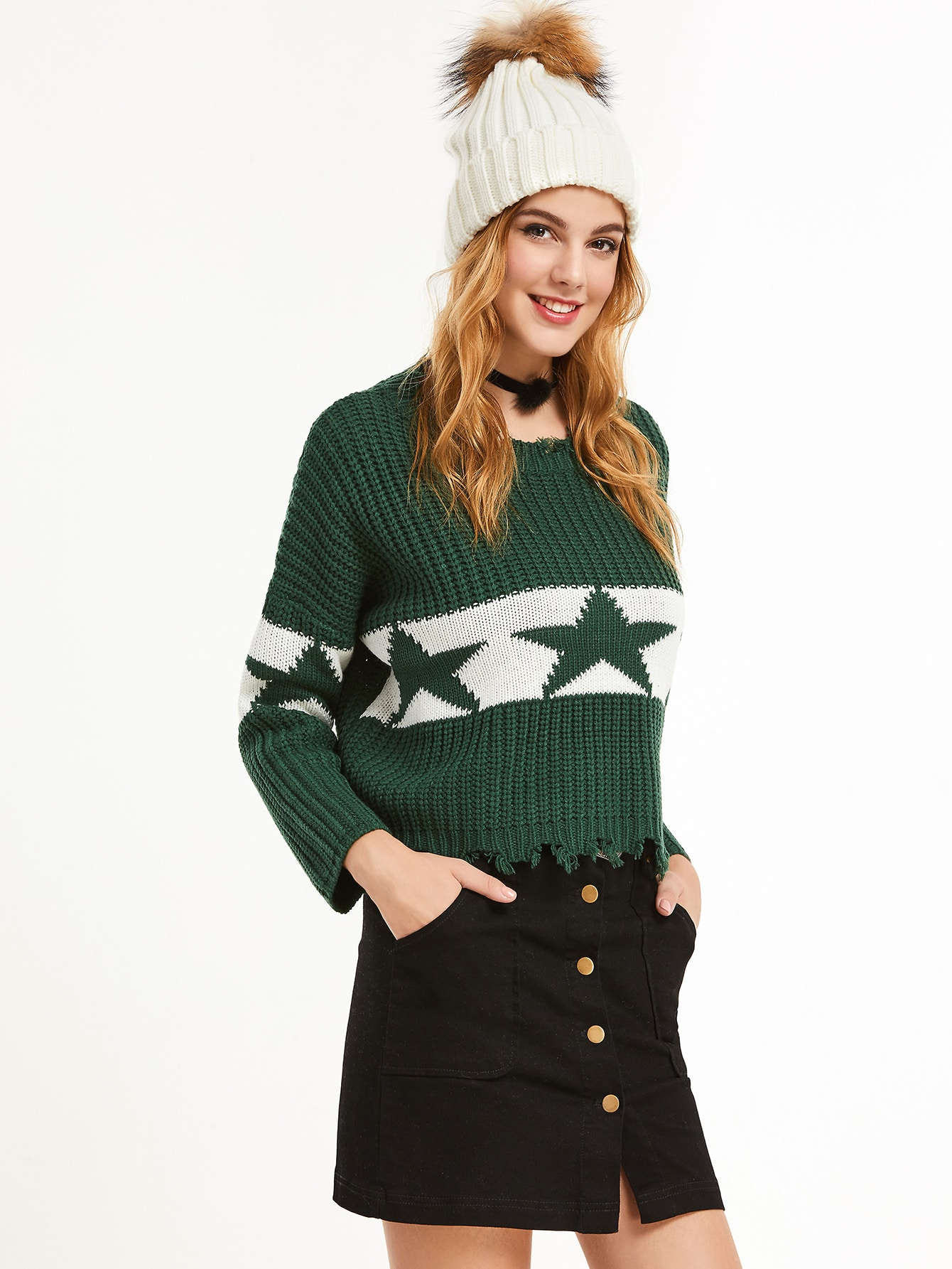 Green Drop Shoulder Contrast Star Pattern Frayed Trim Sweater