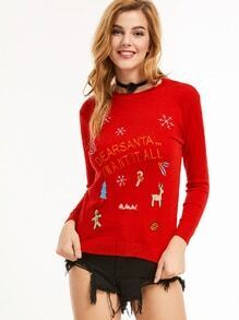 Red Christmas Embroidery Long Sleeve Sweater