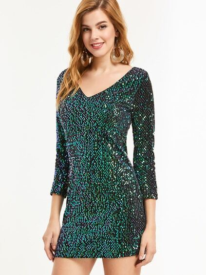 Green Sequin V Neck Bodycon Dress