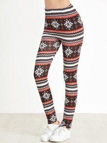 Leggings cintura elástica con estampado de navidad