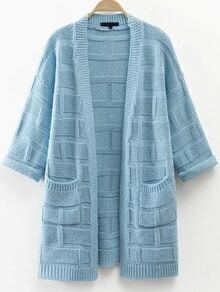 Blue Textured Detail Cardigan With Pocket