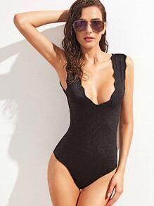 Black Scallop Trim One Piece Swimwear