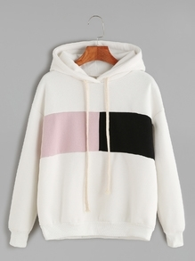 Ivory Contrast Dropped Shoulder Seam Drawstring Hooded Sweatshirt