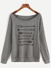 Grey Arrow Print Scoop Neck Raglan Sleeve Sweatshirt
