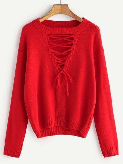 Red Cutout Lace Front Camel Knit Detail Sweater