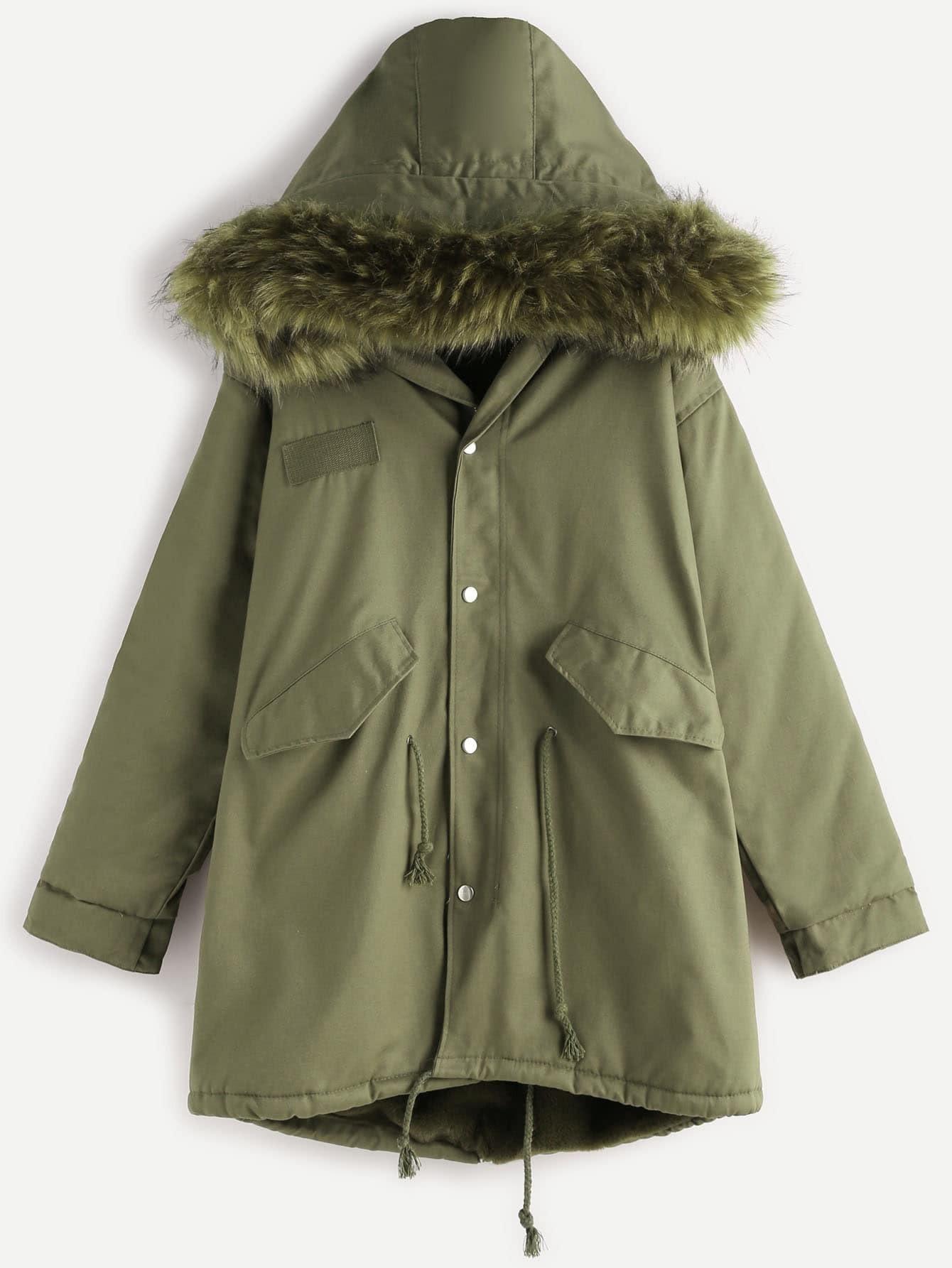 Green Faux Fur Trim Drawstring Fleece Inside Hooded Coat