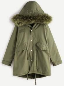Buy Green Faux Fur Trim Drawstring Fleece Inside Hooded Coat