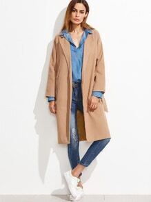Khaki Dual Pocket High Split Side Belted Coat