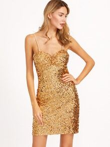 Buy Gold Sequin Sheath Slip Dress
