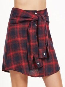 Tartan Plaid Tie Front Button Skirt