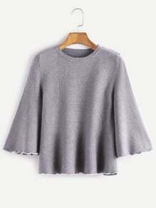 Jersey suelto ribete en contraste - gris