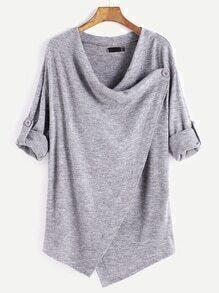 Grey Roll Tab Sleeve Asymmetric Hem Cardigan