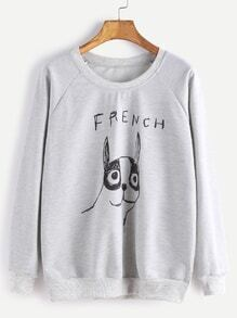 Grey Drawing Print Raglan Sleeve Sweatshirt