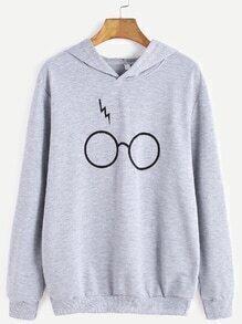 Grey Eyeglass Print Hooded Sweatshirt