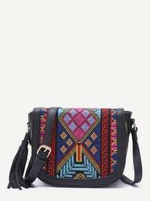 Black Tribal Print Tassel Trim Flap Shoulder Bag