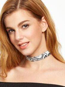 White Paisley Print Wide Choker Necklace