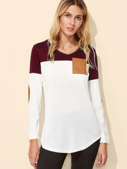 Color Block Elbow Patch Curved Hem T-shirt
