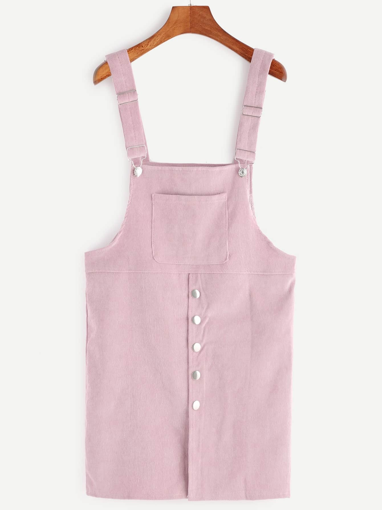 Pink Corduroy Single Breasted Overall Dress With Pocket