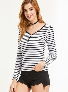 Striped V Neck Button T-shirt
